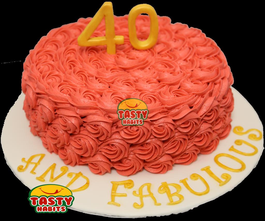 Red Rosette Cake - Tasty Habits