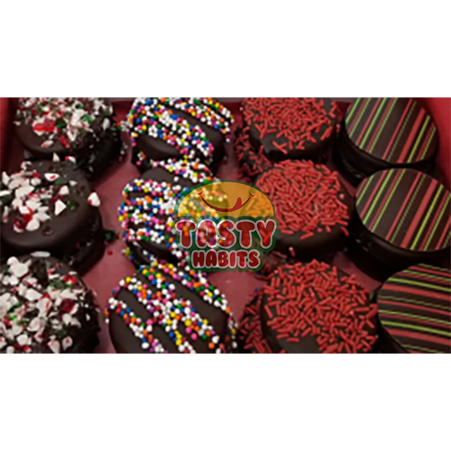 Dark Decorated Oreos covered in Dark Chocolate