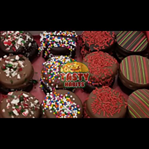 Milk Decorated Oreos covered in Dark Chocolate