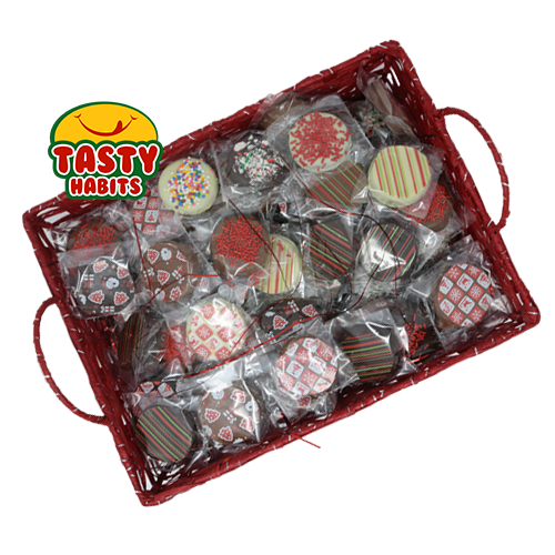 Individually Wrapped Chocolate Covered Oreos with Christmas Decorations