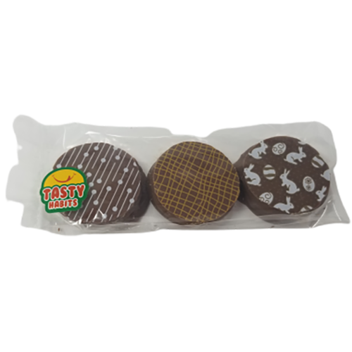 3 Oreos Covered in Chocolate with Bunnies Edible Printing