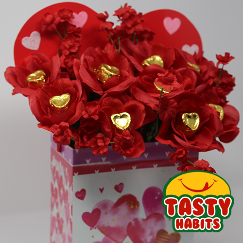 Chocolate Hearts Flower Box for Valentine