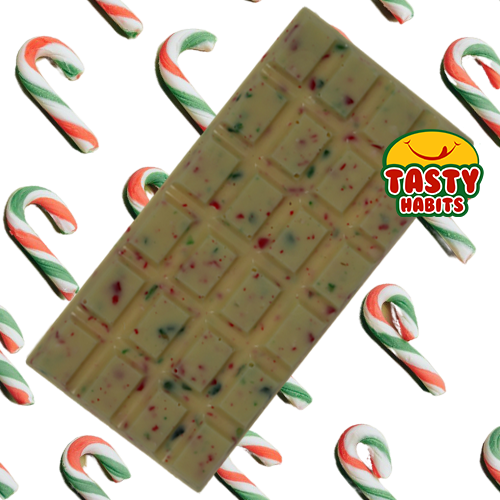 White Large Chocolate Bar with Crushed Candy Canes